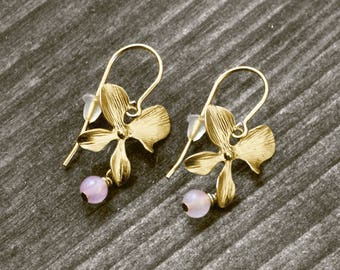 CHERRY BLOSSOM earrings with flower and pearl | gold