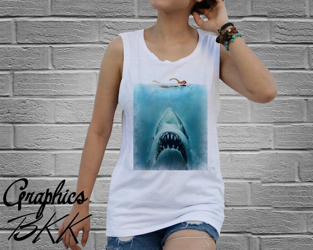 Jaws shirt women 39 s tank top shirt jaws t shirt shark for Shark tank t shirt printing
