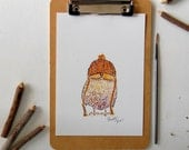 Whimsical Owl Woodland Art Print | Watercolor Owl Painting | Funny Animal Art | Owl Lover Gifts for Knitters | Knitting Art | Childrens Art