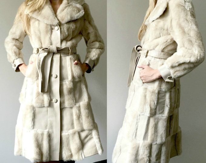 Vintage 70s Fur + Leather Patch Coat