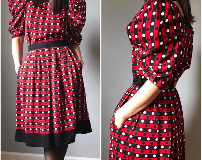 Vintage 80s YSL Polka Dot Shirt + Skirt