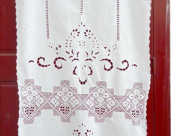White cutwork curtain with hand-crochet lace - Mediterranean style- Cottage chic- Traditional design- Farm house decor -0002335