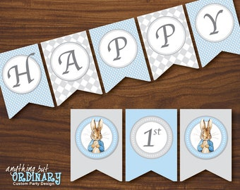 Peter Rabbit Birthday Banner in blue and gray, DIY Banner, INSTANT DOWNLOAD printable digital file
