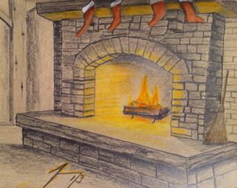 Pack of 3 - Fireplace Scene Christmas Cards & Envelopes