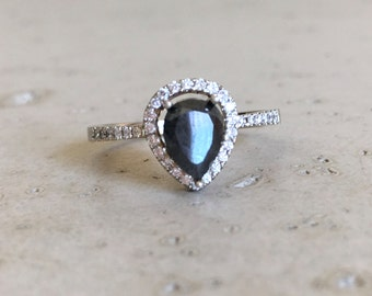 Rose Gold Black Diamond Engagement Ring- Halo Pear Shape Diamond Ring- Black Diamond Promise Ring- Alternative Engagement Ring with Diamond