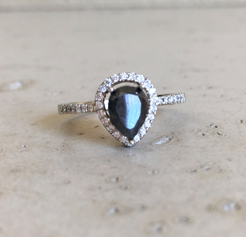 Rose Gold Black Diamond Engagement Ring Halo Pear Shape