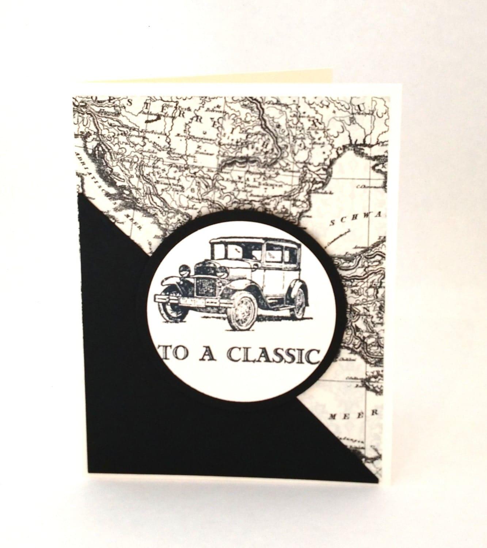 Masculine Birthday Card with Vintage Car Mans Birthday Card