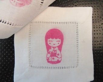 4 hand stamped japanese dolls coasters/cocktail napkins