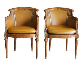 French Regency Chair / Leather Chair / Vintage Chair / Accent Chair / French Carved Frame Leather Chair by Century Chair ~ Pair