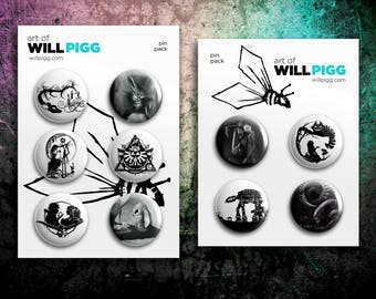 """Pin Packs Buttons -  1.5"""" Mix & Match - Featuring work from my Geek hand cut paper art and charcoal illustrations"""