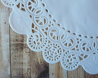 """Paper Doilies - 50 French Lace Round Paper Doilies - 10 inch white doily - 10""""  Large"""