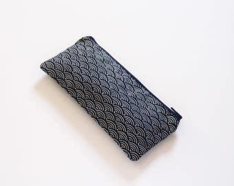 Seigaiha pencil case, small pencil pouch, japanese zipper pouch, seigaiha, japanese purse, blue purse - Seigaiha