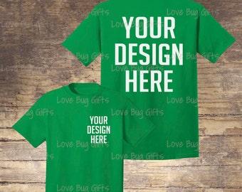 TShirt Mock Up - Irish Green - Unisex Short Sleeve Shirt - Add your design - INSTANT Download