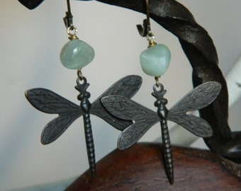 SALE 15% coupon code MARCH15 Art Deco Dragonfly Dangle Earrings by 58Diamond Adventurine Beads