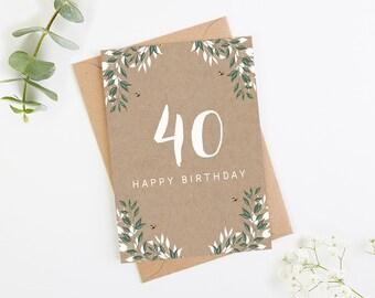 40th Birthday Card Botanical Kraft