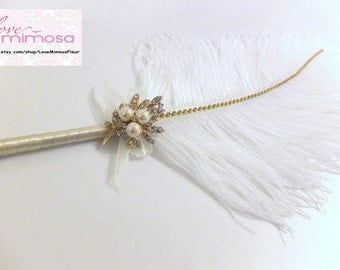 Large Feather Pen with Gold Pearl Brooch / Ivory Feather Pen/ Wedding Signing Pen / Guest Book Pen / Wedding Reception Accessories