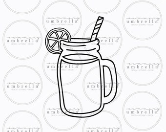 Mason jar with handle outline