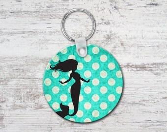 Mermaid Polka Dots Round Keychain Key Chain