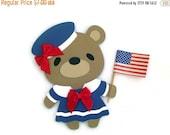 On SALE: 4th of July Teddy Bear Sailor Card , Navy Teddy Bear , Patriotic Bear Card , Teddy Bear Cards , Girl Teddy Bear