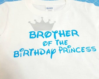 Big Brother of the Birthday Princess, birthday girl Tshirt white with bright blue and silver crown