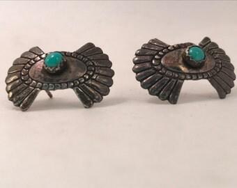 SALE Vtg old new stock Sterling Navajo Turquoise Earrings