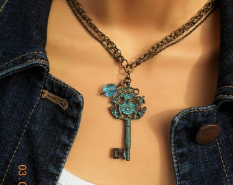Turquoise Blue Key Charm Necklace, Blue Key Charm Necklace, Large Key Charm Necklace, Boho Gypsy Charm Necklace