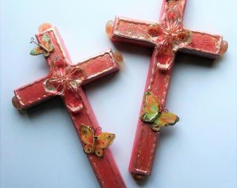 CROSS two different crosses gift religious art gift Christian art gift wall decor butterflies butterfly cross crosses pink girl crosses