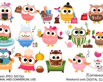 Weekend owls Digital clip art for Personal and Commercial use - INSTANT DOWNLOAD