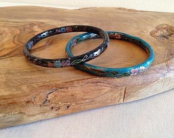 Vintage Cloisonne Bangle Bracelets Set of Two Aqua Blue and Black