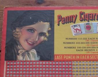 penny cigarette sale board, art deco, 1932, unpunched