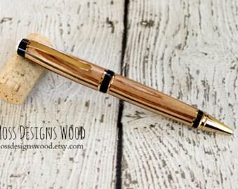 Diamond Wood Pen, Wood Turned, Cigar Style, Black Ink, Gold Finish