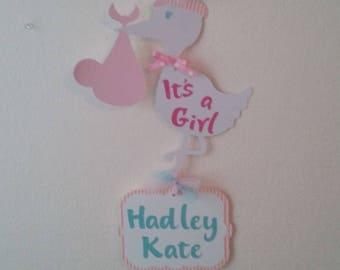 It's a Girli Stork Hospital Banner-Baby Girl Stork Sign