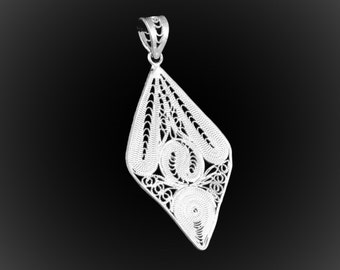 The stained glass of silver pendant