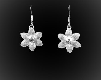 Embroidered Silver Lotus earrings