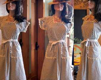Swing WWII day dress cotton 24 34 adorable grey white stripe 2 pockets