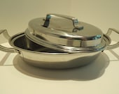 Flint Ware, Covered casserole, Stainless steel pan with lid, Flintware, Oven-to-table cookware, Vintage