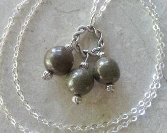 Memorial Bead Pendant or Necklace - Custom Keepsake Stoneware Pottery Pet Cremains Jewelry - LOVE ME KNOTS Trio Drop Pendant