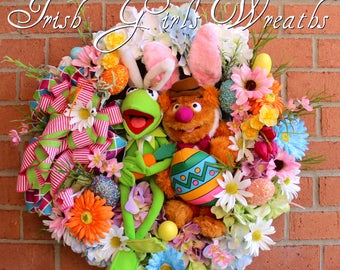 Kermit and Fozzie Muppet Easter Wreath, Spring Wreath, Disney Easter Wreath, Easter Bunny, Fozzie Bear, Kermit the Frog, Gerbera Daisy