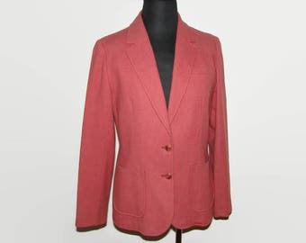 Young Pendleton Dusty Rose Wool Blazer, 1970s Deep Pink Wool Jacket Size 11-12, Modern Size 6