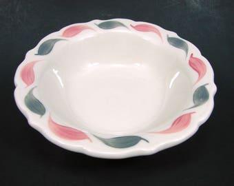 1954 Syracuse China Bowl, Carnival Pink & Gray Grey Brush Strokes Serving Bowl, Cereal Bowl, Restaurant Ware