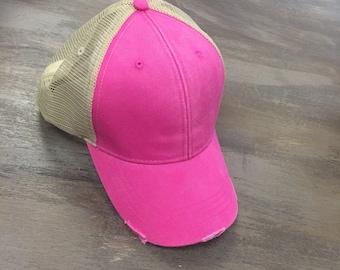 Monogram  Distress Hot Pink  Hat, Monogram Trucker Hat, Monogram Cap, Monogram Baseball Cap
