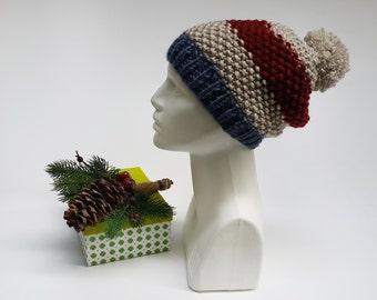 Winter Gift Beanie, Mens Womens Beanie, Christmas Knit Hat, Gift Chunky Beanie, Womens Wool Beanie, Big Beanie, Winter Fashion Beret on Etsy