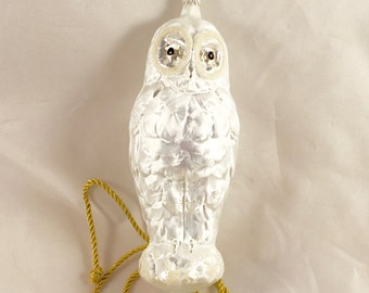 Vintage Rare Snow Owl Ornament - mouth-blown, hand-painted, made in Germany