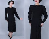 1940s Aligned dress | vintage 30s 40s black rayon crepe dress with horizontal pleat details and hip drape | large