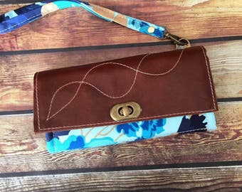 Mom Wallet w/ Zipper Pocket, 12 Card Slots & Leather Accents