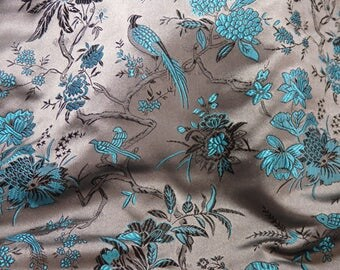 Chinese satin brocade - TAUPE and TURQUOISE brocade with birds and flowers, bird fabric, bird brocade, floral brocade,  - ONE yard