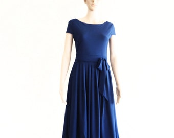 Navy Blue Bridesmaid Dress. Evening Dress.Party Dress.Dress With Sleeves