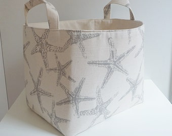 Custom Listing for W.W. - 3 Large Storage Basket Fabric Organizers in Premier Prints Sea Friends Slub Coastal Grey with Canvas Liner
