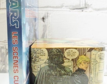 ON SALE RTS Star Wars Wooden Bookend. The Story of Luke Skywalker. Ready to Ship. Comic Book Decoupage. One of a Kind Gift. Darth. Yoda. Lei
