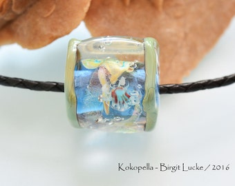 Lampwork Bead -handmade Glassbead Ocean Sea jellyfish, artist Focal Bead Design by Kokopella